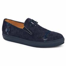 Mauri Men's Olmo Wonder Blue Baby Croc & Embossed Suede Loafers