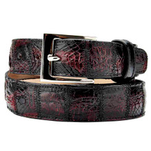 Belvedere Genuine Crocodile Black Cherry Dress Belt