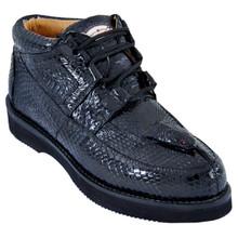 Los Altos Black Genuine Cobra Head Sneaker