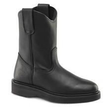 Bonanza Black Full-Grain Leather Wedge Wellington Boots