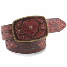 King Exotic Cognac Belt Genuine Lizard Teju