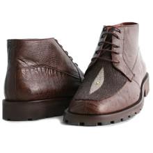Brown Genuine Lizard & Stingray Ankle Boot By Los Altos