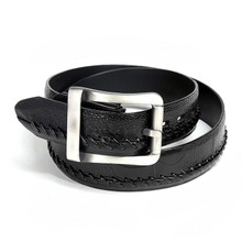 Los Altos Black Genuine Ostrich Skin Belt
