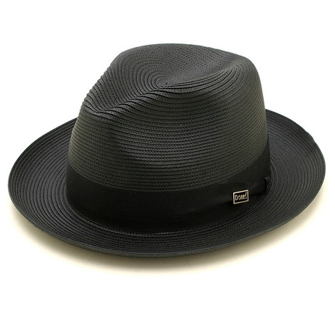 Dobbs Rosebud Black Straw Hat
