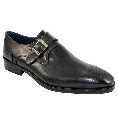 Duca Black Genuine Leather Monkstraps