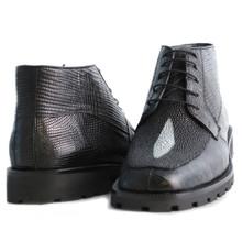 Black Genuine Lizard & Stingray Ankle Boot By Los Altos