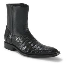 Los Altos Black Genuine Caiman Ankle Boots