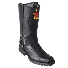Los Altos Black Genuine Ostrich Biker Boots