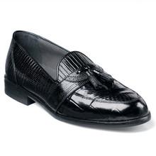 Stacy Adams Santana Black Genuine Snakeskin Loafers