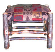 Rustic Hickory Ottoman with Red Cabin Fabric