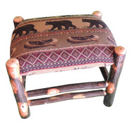 Rustic Hickory Ottoman with Bear Creek Fabric