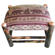 Rustic Hickory Ottoman with Bear Mountain Fabric