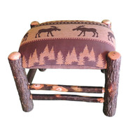 Rustic Hickory Ottoman with Brown Moose Fabric