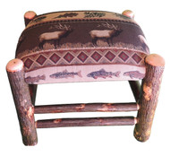 Rustic Hickory Ottoman with Elk Run Fabric