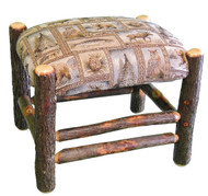 Rustic Hickory Ottoman with Winter Woodlands Fabric