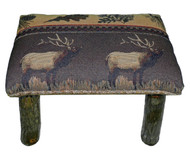 Rustic Hickory Small Stool Ottoman with Elk Run Fabric