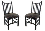 Set of 2 Rustic Hickory Dining Chair with Spindle Back
