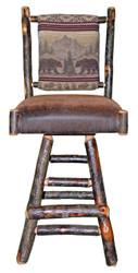 "Rustic Hickory Swivel Bar Stool 30"" - Bear Mountain Fabric"