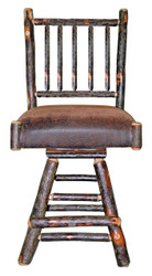 "Rustic Hickory Swivel Bar Stool 24"" - Spindle Back"