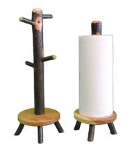Rustic Hickory Mug Tree & Paper Towel Holder Set