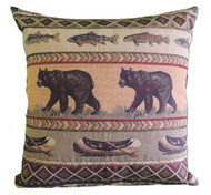 Premium Rustic Throw Pillow - Bear Creek