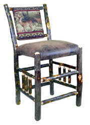 "Rustic Hickory Bar Stool with Spindle Sides 24"" - Buck & Doe Fabric"