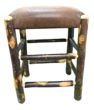 "Rustic Hickory Backless Bar Stools 24"" - Faux Leather Fabric"