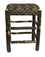 "Rustic Hickory Backless Bar Stools 24"" - Pine Cone Fabric"