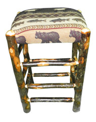 "Rustic Hickory Backless Bar Stools 30"" - Elk Run Fabric"