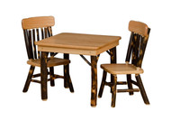 Kid's Rustic Hickory Table and 2 Chairs Set