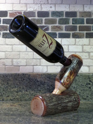 Rustic Hickory Wine Bottle Holder