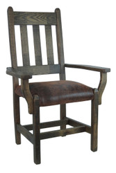 Barnwood Dining Chairs with Arms and Upholstered Seat - Distressed Faux Leather Fabric