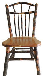 Rustic Hickory & Oak Dining Chair with Wagon Wheel Spindle Back