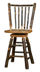 "Rustic Hickory & Oak Swivel Bar Stool 30"" - Spindle Back"