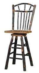 "Rustic All Hickory Swivel Bar Stool 24"" - Wagon Wheel Spindle Back"