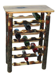 Rustic Hickory Wine Rack Table - 18 Bottles