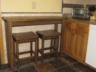 Barnwood Sofa Table Breakfast Bar with 2 Barnwood Bar Stools