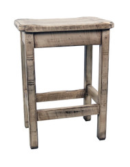 "Farmhouse Distressed White Glazed Bar Stools 24"" - Scooped Seat"