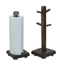 Barn Wood Mug Tree & Paper Towel Holder Set