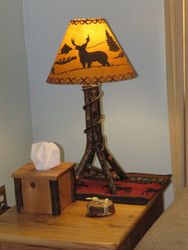Amish Bentwood Hickory Table Lamp with Shade