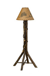Amish Bentwood Hickory Floor Lamp with Shade