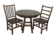 "Barnwood 3 Piece Dinette Set with 36"" Round Table and 2 Rustic Hickory & Barnwood Chairs"