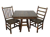 "Barnwood 3 Piece Dinette Set with 36"" Square Table and 2 Rustic Hickory & Barnwood Chairs"