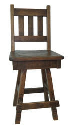 """Amish Barnwood Swivel Bar Stool 24"""" or 30""""- Slat Back"""