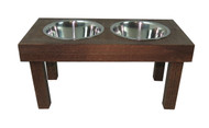 Barnwood  Dog Feeder with Stainless Steel Bowls