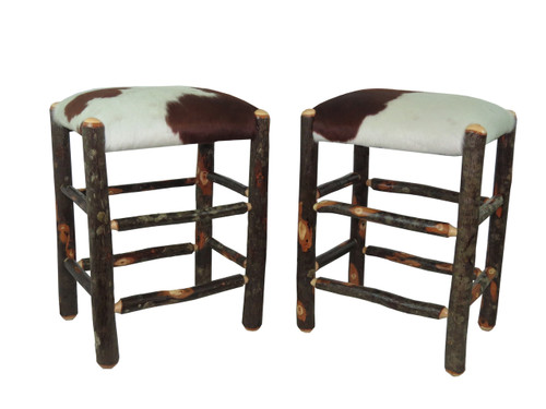 Set Of 2 Real Cowhide Rustic Hickory Backless Bar Stool 24