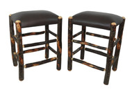 "Set of 2 Genuine Leather Rustic Hickory Backless Bar Stools 24"" - Dark Brown"