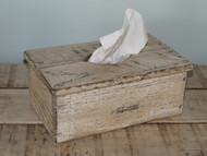 White Distressed Barnwood Long Tissue Box Cover
