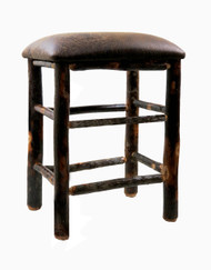 "Rustic Hickory Bar Stools 24"" or 30"" Upholstered Seat - Changeable Top"