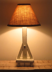 Farmhouse White Distressed Barnwood Table Lamp with Shade